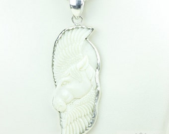 Winged Pegasus TOTEM Goddess Face Moon Face Bone Carving 925 S0LID Sterling Silver Pendant + 4MM Chain p3896