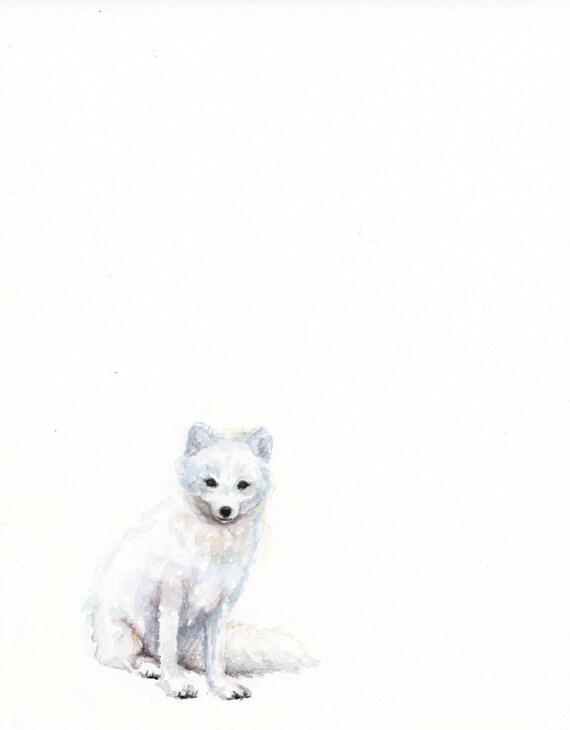 Arctic Fox Watercolor PRINT Baby Animal Art White Fox