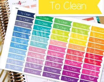 Cleaning Planner Stickers Erin Condren Life Planner (Eclp) - 55 To Clean Flag Header Stickers (#7005)