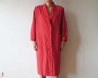 Vintage Striped Red Women's Trench Coat With Shoulder Pads Red White Trenchcoat Detective Overcoat Raincoat Size XL Large Made In Finland