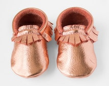 Rose Gold Baby Moccasins / Toddler Moccasins, Copper Metallic Moccasins, Rose Gold Leather Shoes, Infant shoes, Crib Shoes