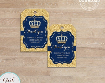 Prince Favor Tags, Royal blue and Gold Thank You Tags, Gift Tags, Little prince Favor Tags, Printable Decoration, Instant Download