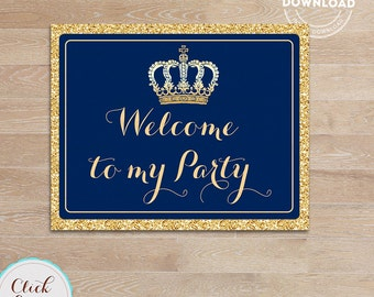 Prince Welcome Sign, Royal blue and gold Sign, Door Sign, Little prince, Printable Party supplies, Birthday Party Decorations