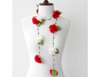Red and White Flowers with Green Leaves Lariat Necklace, Bracelet or Belt