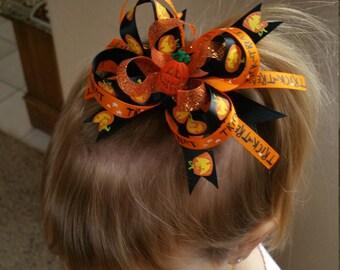 "3"" Halloween Jack-O-Lantern Bow"
