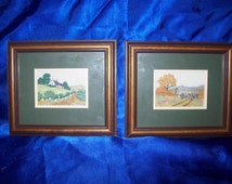 A Pair of Embroidery Pictures, Landscapes
