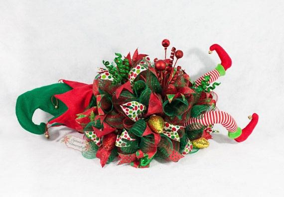 Elf centerpiece christmas legs decor helper