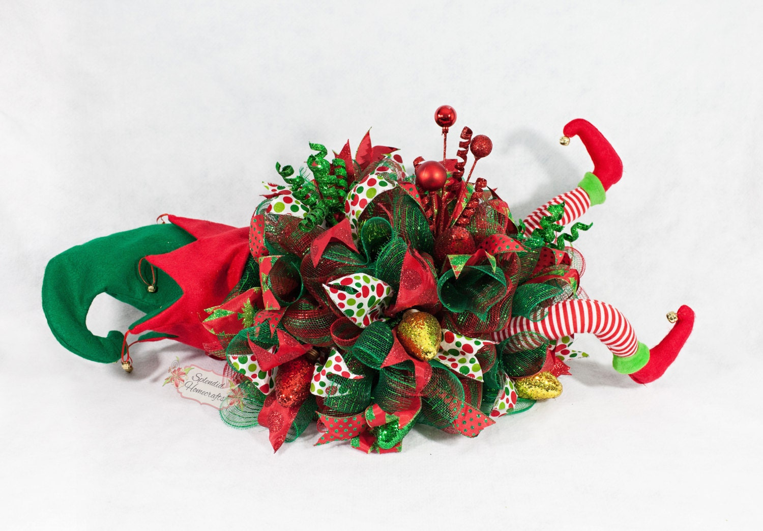 Elf centerpiece christmas legs decor helper