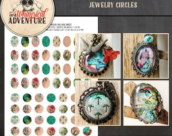 Vintage tropical, digital download, printable collage sheet, 20 mm 18x25 mm, vintage style jewelry circles for pendants cabochons earrings