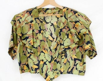 Ruffle top 1980s Forest Print Green Brown Leaf Print