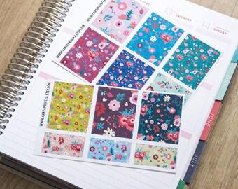 9 full box sticker, flower square sticker, floral planner stickers, scrapbook reminder ornament eclp filofax happy planner