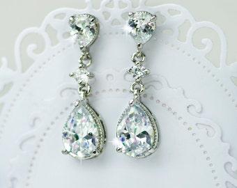 bridal earrings, cubic zirconia earrings, cz earrings, crystal bridal earrings, wedding earrings, chandelier earrings, teardrop earrings