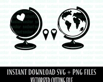 SVG File Commercial Use OK Globes for Wanderlust with Pin Drops  - SVG Cutting File - Instant Download of Vector Files