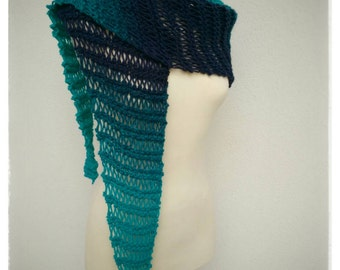 Triangle scarf, green and navy blue.