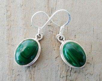 Malachite Earrings - Sterling Silver Malachite Earrings -  Gemstone Earrings - Malachite Jewelry- Green Earrings - Everyday Earrings