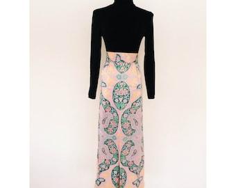 70's Pastel Print Midi Skirt