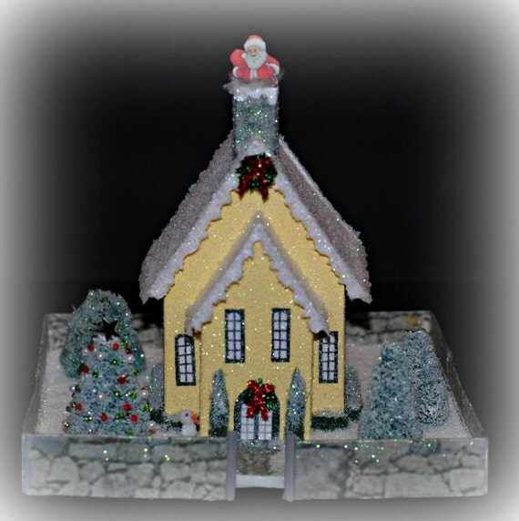 Glitter House, Handmade Yellow Glittered House, Christmas Village House, Putz Style House, Christmas Village Paper House, Xmas Decoration
