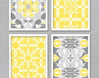 Instant Download Art, Printable Art, Yellow and Gray Art, Bathroom Art, Bedroom Art, Printable Artwork, Printable Art Prints, Digital Art