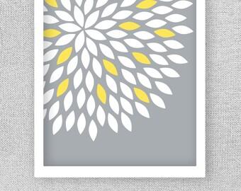 Printable Art, Yellow and Gray Art, INSTANT DOWNLOAD Art, Bedroom Art, Flower Wall Art, Dahlia Print, Bathroom Art, Wall Art Print