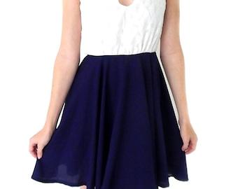 V neck dress, blue and white, handmade