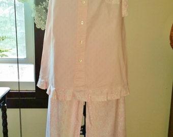 Ladies Pink Pajamas, Handmade Pajamas, UPcycled Clothing,  Lounge Set, Gifts for Her, Ready to Ship