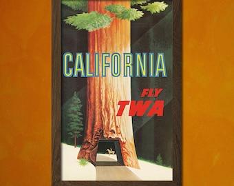 California Travel Print - Vintage Travel Poster Travel Wall Decor Californian Prints Travel California Poster Twa   Reproduction