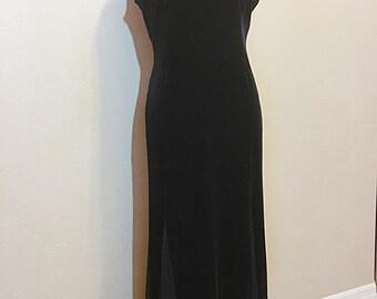 Vintage Black Velvet Dress - Size 8P