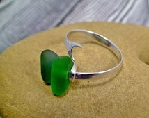 925 Sterling Silver Mermaid Tail Sea Glass Ring Size 7-8 Beach Glass Ring Sea Glass Jewelry