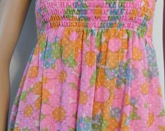 1970s Mod Sundress Flower Power Kawaii Pink Polka Dotted Sun Dress Ruched