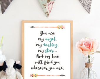 My Love Will Find You, Boy Nursery Print, Rustic Nursery, SMA Print