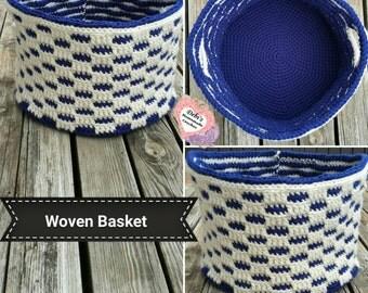 Checkered Storage Basket, Made-to-Order Crochet