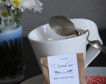 12 Hot Cocoa Mix, Mini Treat Bags and Tags