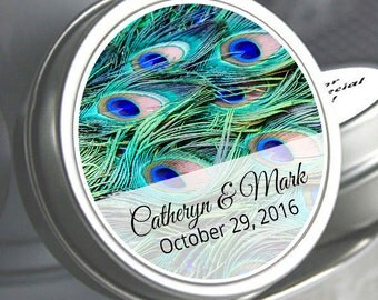 50 Peacock Mint Tins - Wedding Decor - Wedding Favors - Wedding Mints - Peacock Feathers - Personalized Wedding Tin Mints - Peacock Favors