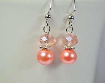 FREE SHIPPING, coral pink earrings, coral pearl earrings, pink coral earrings, pink siver earrings, coral silver earrings,