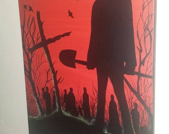 Rick Grimes The Walking Dead Comic Book Acrylic Paint on 16inx20in canvas