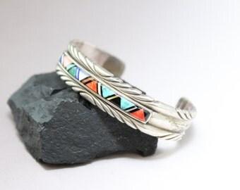 Sterling Silver Native American Signerd /R CORTIZ Inlay Turquoise Cuff Bracelet