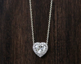 1.68 ct.tw Heart Halo Pendant Necklace-Heart Cut Diamond Simulant-Bridal Necklace-Anniversary Necklace-Solid Sterling Silver [1309]