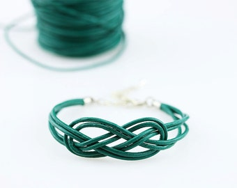 Double infinity knot bracelet Blue sailor knot bracelet Bridesmaid leather cord bracelet Green nautical knot bracelet Surfer rope bracelet