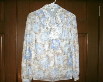Vintage 1980s Women's Floral Blouse, Front Ruffle, Secretary, Librarian, Cricket Lane,   NOS, Deadstock, Bust 37 Inches, Large