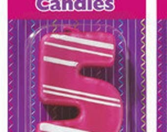 "5 Birthday Candle - 3"" Pink Stripes #3 number three"