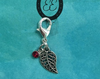Red and Silver leaf charm