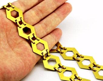 1 meter ( 3,33 Feet ) Raw Brass 20x20 mm Hexagonal Chain