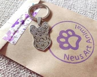French Bulldog Keychain. Stainless Steel