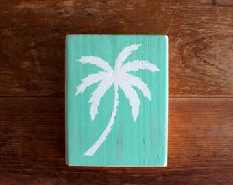 Palm Tree Wood Sign   Nautical   Wall Art   Wall Decor   Beach Sign   Beach Decor   Wooden Blocks