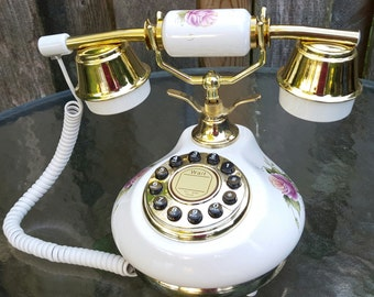 Working phone Porcelain French Desk Telephone from TT Systems 1970's Reproduction vintage Phone