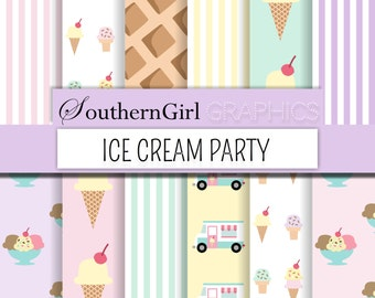 "Ice Cream Party Digital Paper - ""ICE CREAM PARTY"" with pink, mint, yellow, purple, striped, pastel ice cream cone, truck digital patterns"