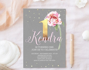 Printable First Birthday Invitation Pink and Gray Birthday Invitation Baby Girl Birthday Invite 1st Birthday Party Floral Invitation Boho