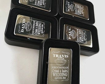 5 Personalized lighters - 5 Groomsmen gifts - Bridesmaid Wedding gifts -5 Best man Wedding gifts - Laser engraved Groomsman gifts