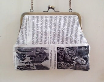 Upcycled Clutch Purse. Made of recycled art history book. Pages contains famous paintings. Can be used as an Evening bag.