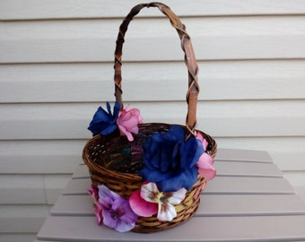 Flower Girl Basket, Rustic Basket, Wedding Basket, Wedding Accesory